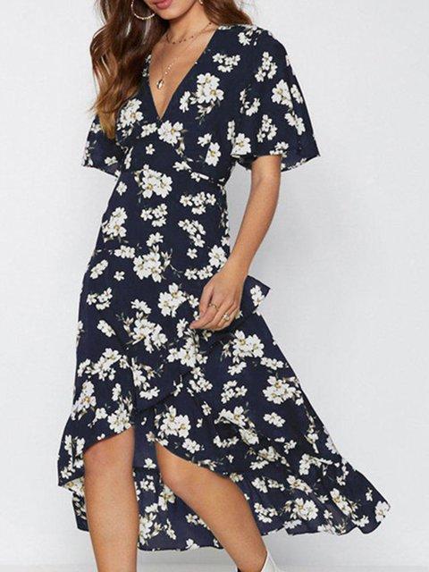 ab1166487e0 Justfashionnow Summer Dresses Chiffon Dresses Holiday Asymmetrical V Neck  Sweet Short Sleeve Printed Dresses
