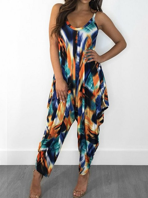 Full Colour Sleeveless Printed/dyed Loose Jumpsuits