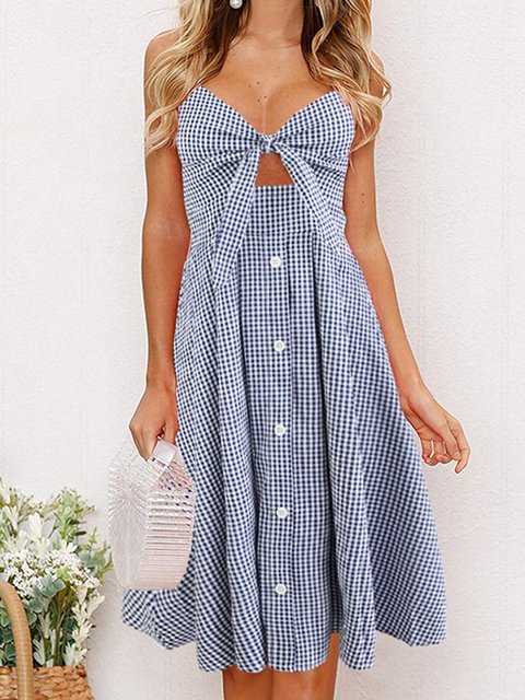 V Neck Women Summer Dresses A-Line Plaid Dresses