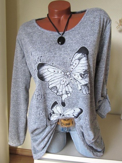 Butterfly Printed Long Sleeve Casual T-Shirts
