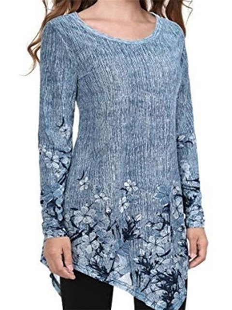 Asymmetrical Floral Round Neck Casual T-Shirts