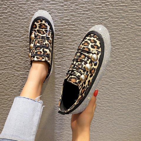 Women's Low Heel Sparkling Glitter PU Leopard Sneakers