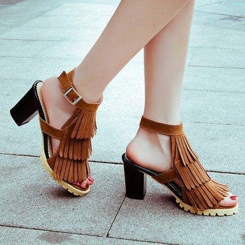 Chunky Heel Tassel Nubuck Dress Sandals