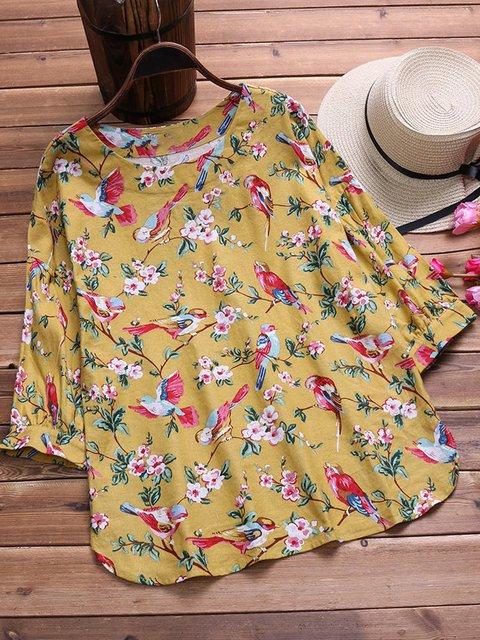 Plus Size 3/4 Sleeve Floral-Print Casual Linen Shirts & Blouses