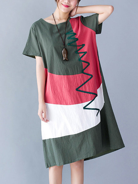 Crew Neck Women Summer Dresses Shift Daily Linen Color-Block Dresses