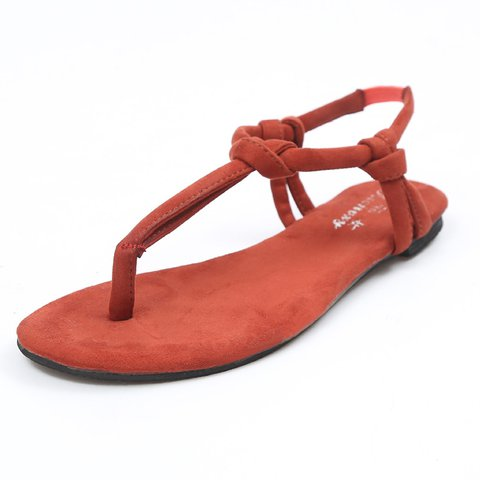 Artificial Suede Sandals Flat Flip Flops Beach Shoes Sandals