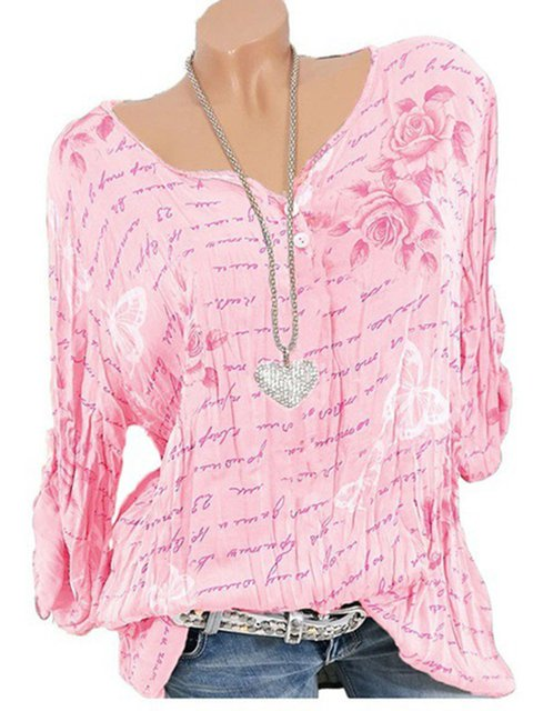 Floral Long Sleeve V Neck Casual T-Shirts