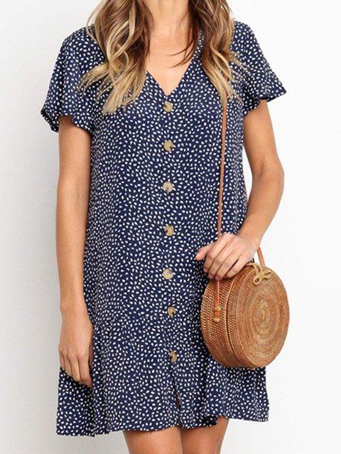 V Neck Women Summer Dresses Flounce Daytime Vintage Printed Dresses