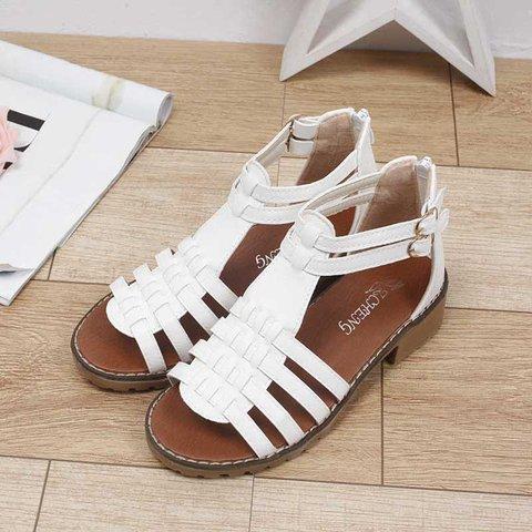 Women's Casual Peep Toe Chunky Heel Zipper Sandals