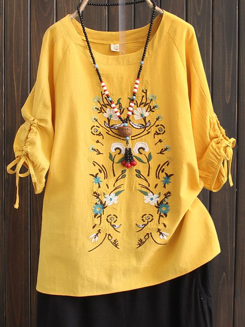 Casual Cotton Solid Floral-embroidered Shirts & Blouses