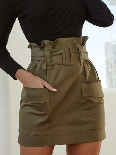 Army Green Solid Casual Skirts With Belt