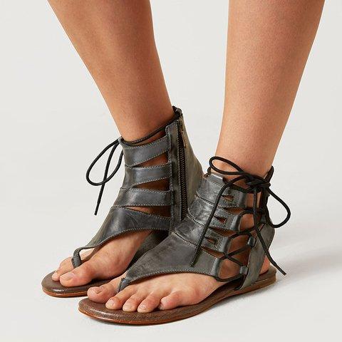 Women's Roman Hollow Out Zipper Sandals