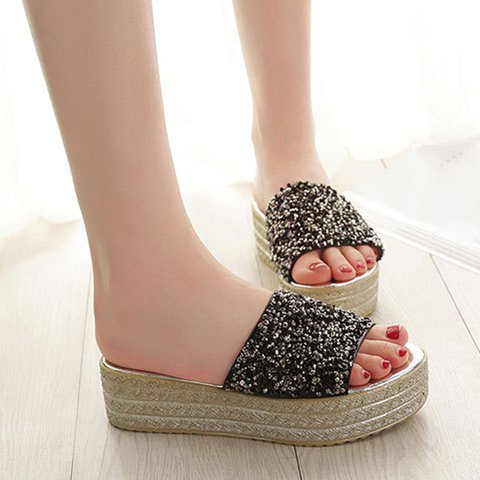 Women Creepers Slippers Shiny Sequins Embellished Open Toe Sandals