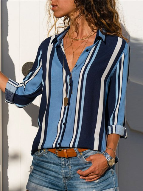 Stripe Printed Long Sleeve Casual Shirt Collar Blouses