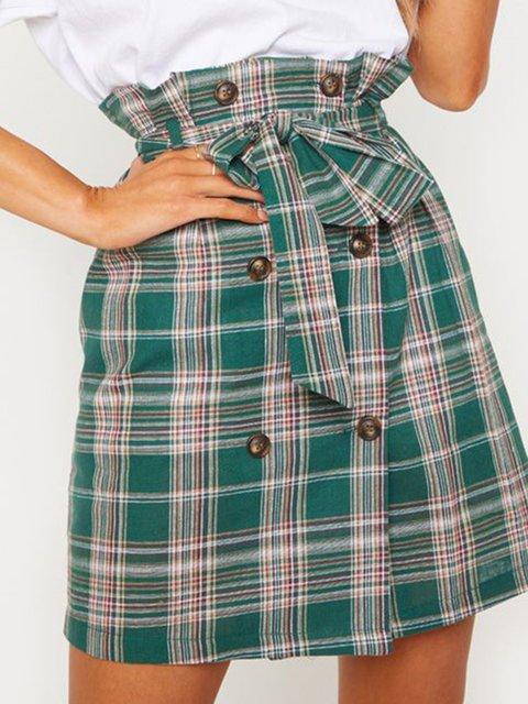 Green Work Paneled Checkered Printed Skirts