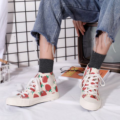 Women's Classic High Top Lace-Up Low Heel Canvas Sneakers