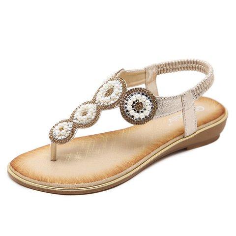 728e1923fcd2 Women Pu Sandals Casual Rhinestone Flip Flops Shoes