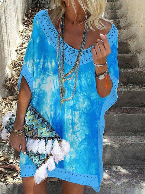 V Neck Women Summer Dresses Shift Daily Cotton-Blend Ombre/tie-Dye Dresses