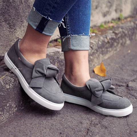 7a07f2b190e Women Slip-On Loafers Plus Size Bowknot Flat Casual Shoes ...