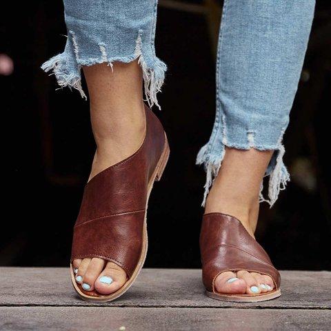 plus size peep toe flats loafers side cutout slip on