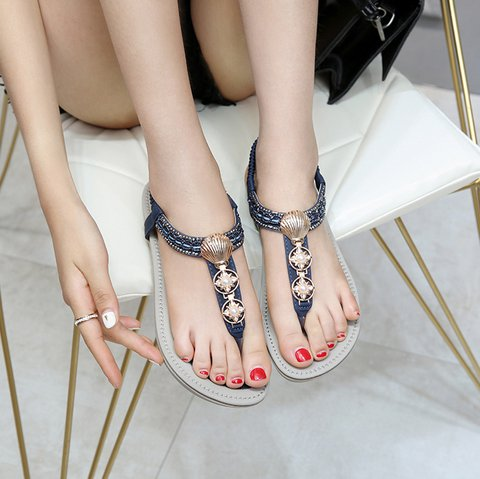 Women's Slip-On Summer Pu Imitation Pearl Sandals