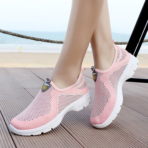 Women Mesh Breathable Sport Slip On Casual Shoes