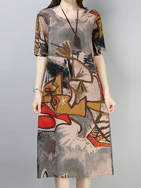 Crew Neck Women Casual Dresses Abstract Dresses
