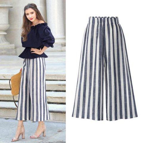 Plus Size Women's Casual Elastic Waist Loose Striped Wide Leg Pants