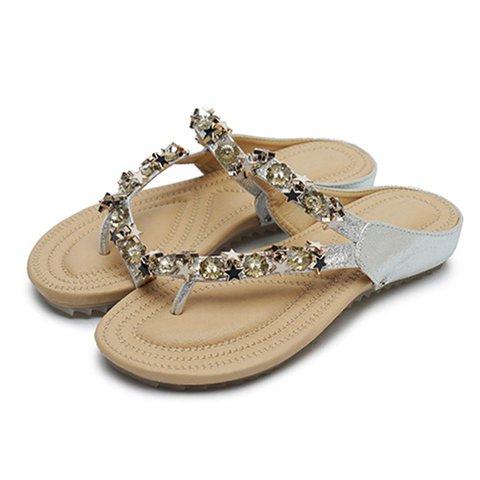 cb32f5ed1cef Flip Flops Star Rhinestones Flat Sandals