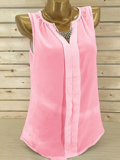 Summer Solid Chiffon Paneled Casual Tanks