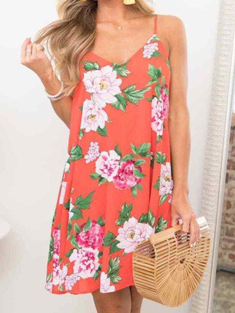 V Neck Women Summer Dresses Shift Casual Chiffon Dresses