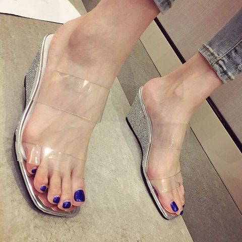 Womens Transparent Casual Summer Pvc Slippers