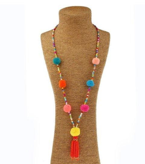 Women Boho Beaded Fringed All Season Necklace