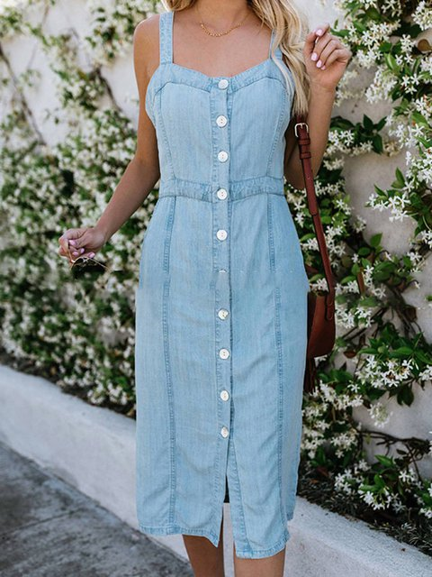 Summer Spaghetti Buttoned Denim Dresses
