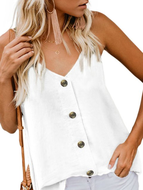Solid Buttoned Daily Buttoned CasualTanks