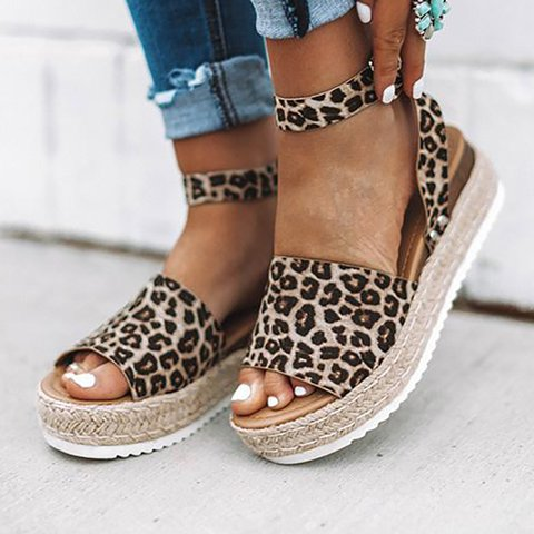 Leopard Espadrilles Flatform Wedge Buckle Open Toe Sandals