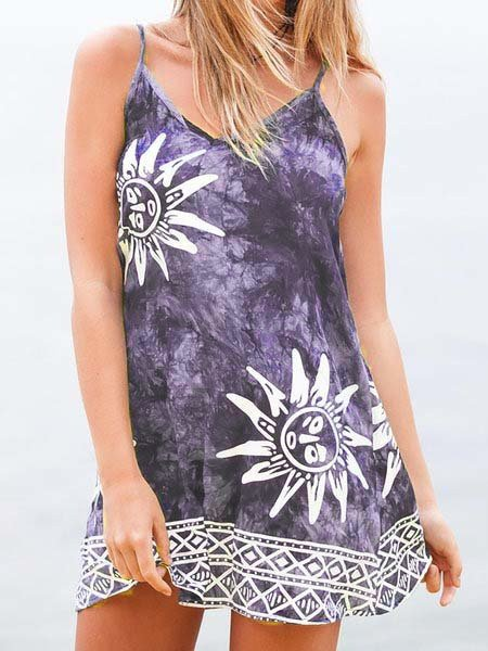 V neck   Women Daily Spaghetti Paneled Abstract Floral Dress