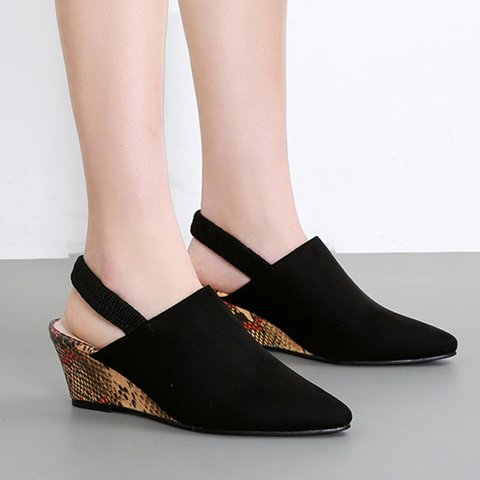Women's Pointed Toe Wedge Sandals Casual Elastic Band Shoes