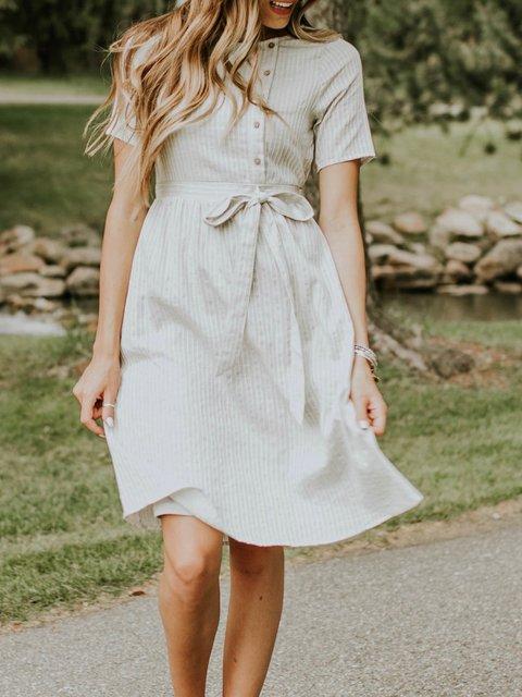 Beige Short Sleeve pocket Striped Dress