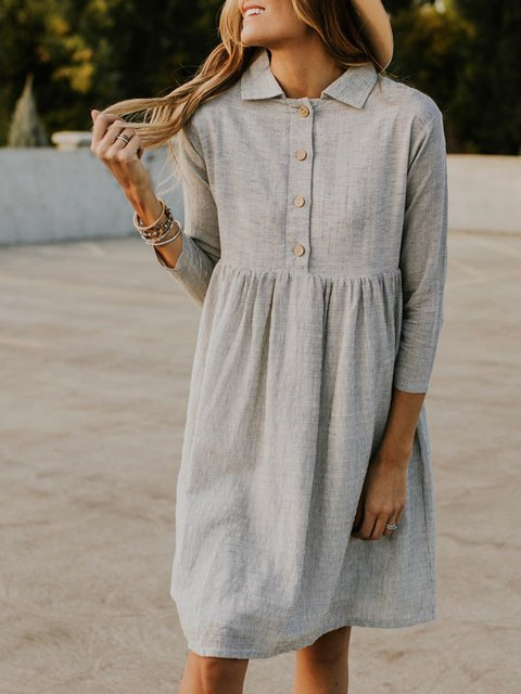 Shirt Collar Women Summer Dresses A-Line Beach Cotton-Blend Striped Dresses