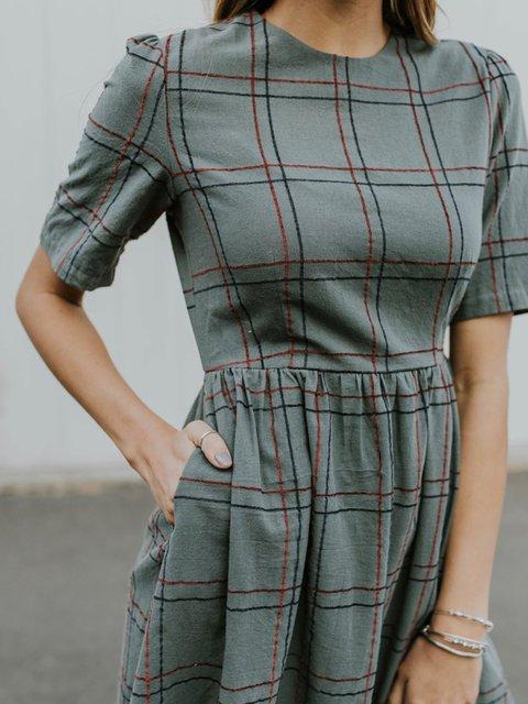 Sweet Casual Striped Pocket Dress