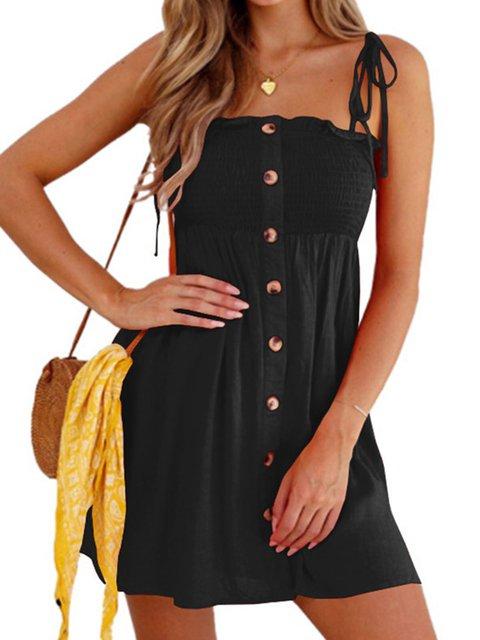 Women Summer Spaghetti Buttoned Mini Dresses