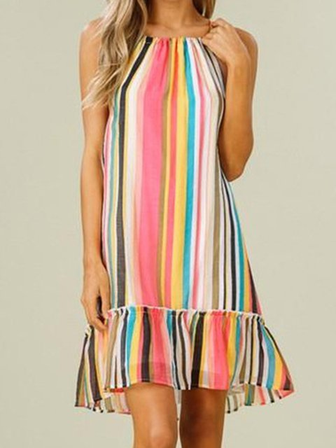 Multicolor Striped Women Summer Dresses Shift Daily
