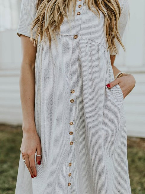 Gray Short Sleeve A-Line Striped Pocket Casual Dress