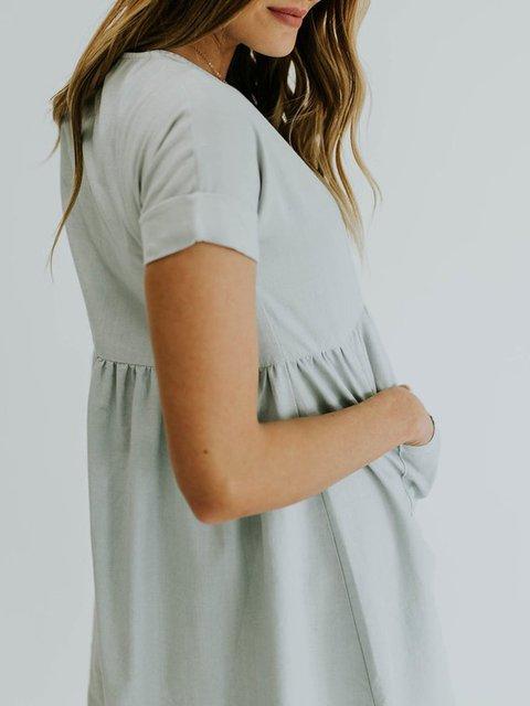 Gray Crew Neck Pockets Sweet Dress