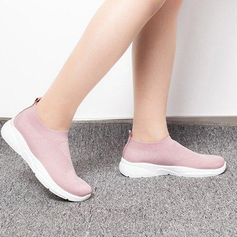 Womens Casual Flyknit Fabric Flat Heel Summer Sneakers