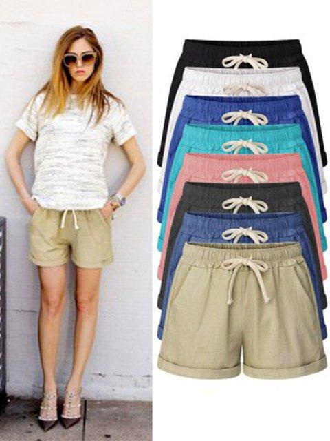 Plus Size Lace Up Elastic Waistband Loose Shorts