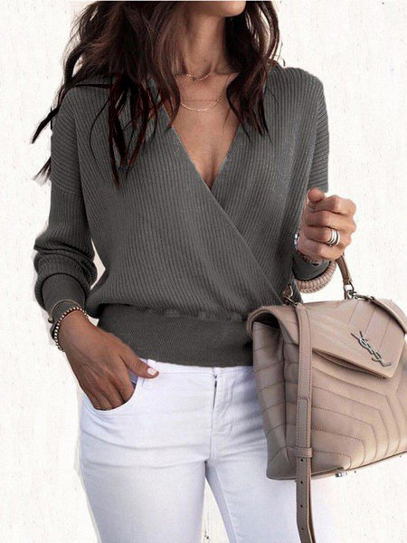 V Neck Long Sleeve Sexy Solid Sweaters