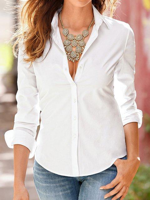 Women Shirt Collar Buttoned Shirts