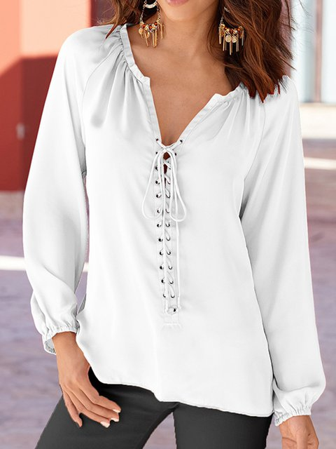 Eyelet Simple & Basic Chiffon Pure Color Blouses Tops